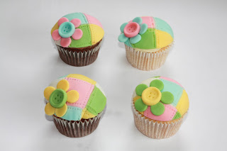 4 Patchwork Baby Shower cupcakes