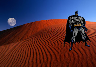 Batman Posters Wallpapers The Dark Knight with Cape in Red Moon Desert background