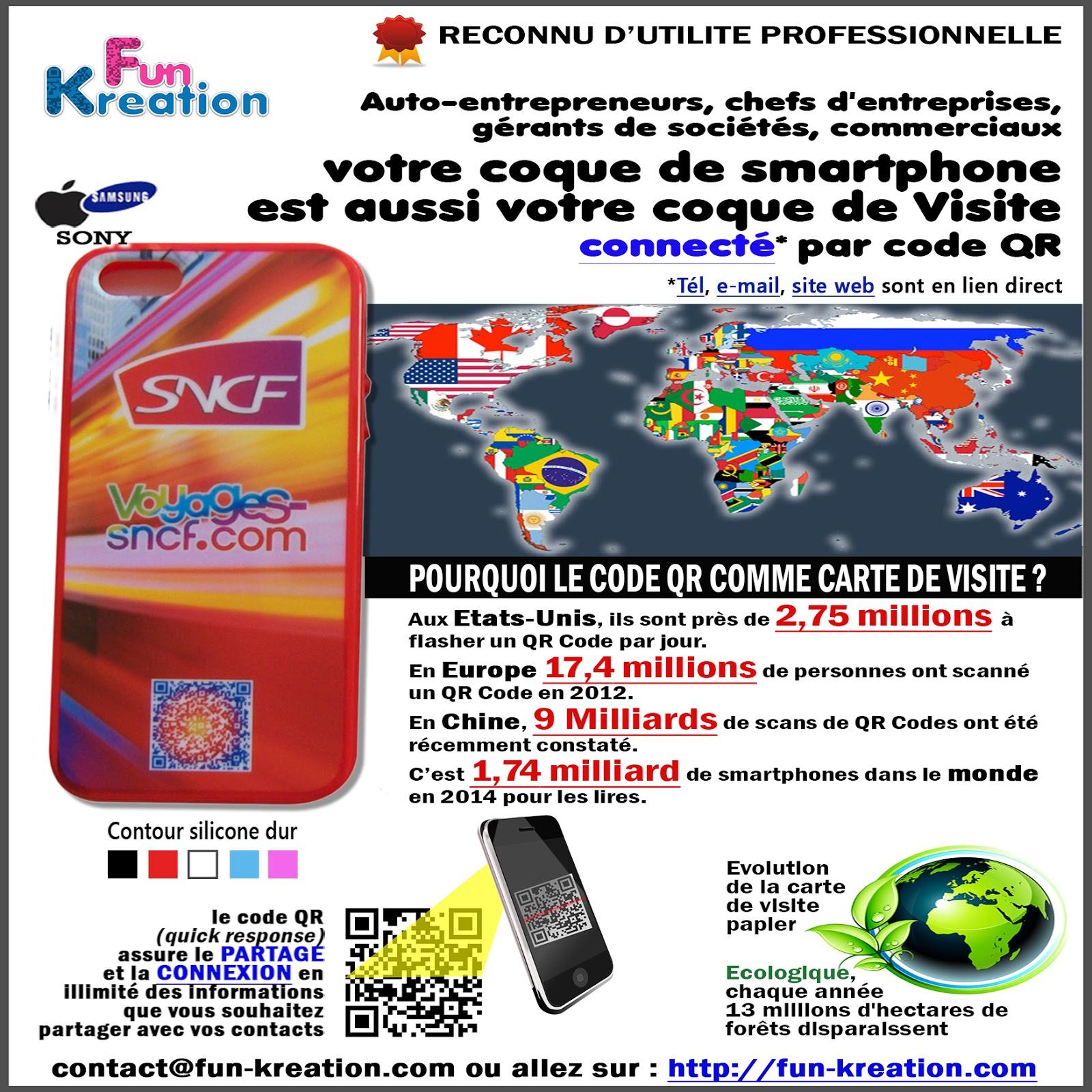 COQUE De VISITE Connectee Code QR Pour Smartphone
