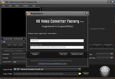 HD Video Converter Factory Pro provide powerful video editing function and video effect. It's a real all-in-one video converting tool.    It owns friendly and simple interface, and very easy to control all the functions, fastconverting speed could save you a lot of time.The HD Video Converter has set the common resolution for portable devices, and you can also change the resolutions and sizes for your own PSP or iPhone, iPad, etc. Besides, all operations are simple to control. It also supports converting all the High Definition and HD-Camcorder videos, to both portable and console players, such as iPad, iPod, iPhone, Apple TV, PS3, PSP, Xbox, Zune, PDA, BlackBerry, Nokia, Android, Zen, etc,. Supporting Multi-CPU and Hyper Threading, HD Video Converter Factory Pro offers up to 3x - 5x real time video converting speed.   It can convert and Build videos and music in 150+ video formats, it can easily support MP4, 3GP,M2TS, MKV, AVCHD, HDTV, BDAV and many more. Further more advanced editing (merge, clip, crop and effect)are also available and useful for all users.   DOWNLOAD  HD Video Converter Factory PRO size: 7.42 mb  Use Serial Key : BB1747D443AAB51FF3148A77B6FEBC0AC0A7E4CC