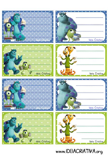 Etiquetas para caderno Universidade Monstro