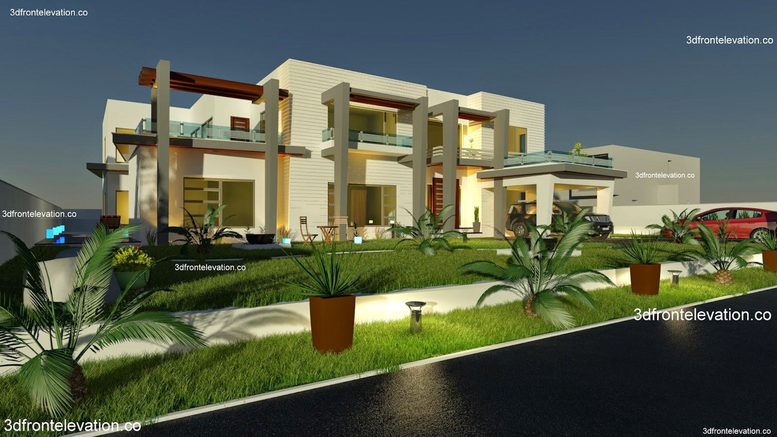 Casatreschic Interior 2000 Sq Yard House Plan 3d Front
