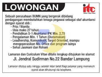 Lowongan Kerja Terbaru BUMN Februari 2015 di Lampung
