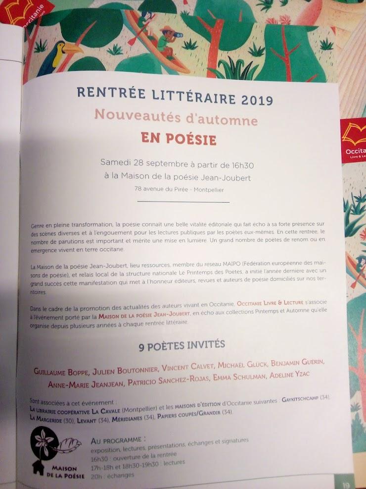 Rentrée littéraire 2019 - Montpellier - France.-