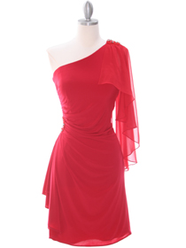 Shoulder Cocktail Dress on Red One Shoulder Cocktail Dress