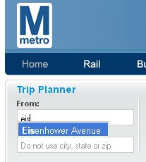 autofill from 'eis' to 'Eisenhower Avenue'