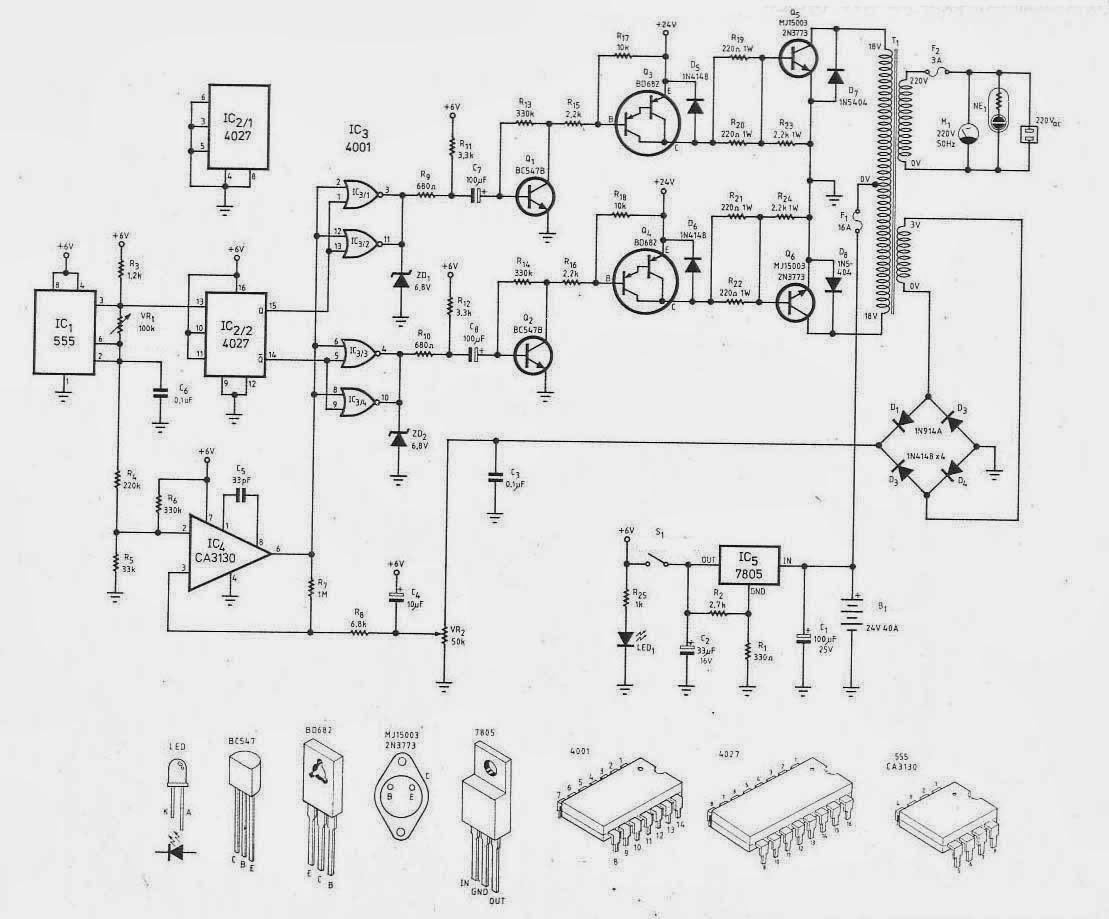 rangkaian inverter sederhana 300 watt