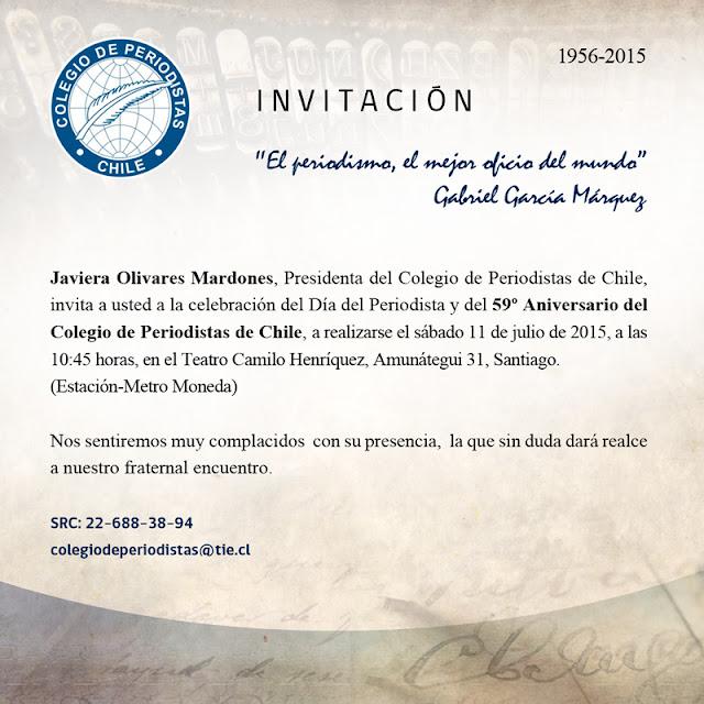 INVITACIÓN Conmemoración 59º Aniversario Colegio de Periodistas de Chile (sábado 11 de julio)
