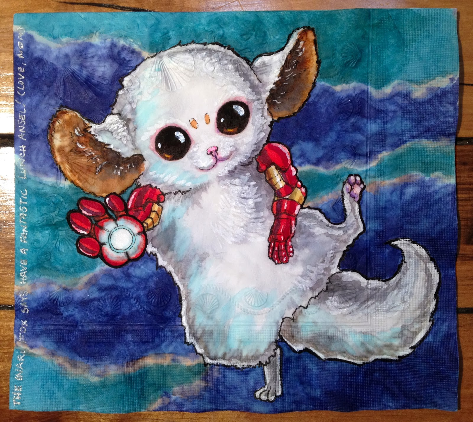 Daily Napkins Inari Fox With Iron Man Arms And Palm Repulsor