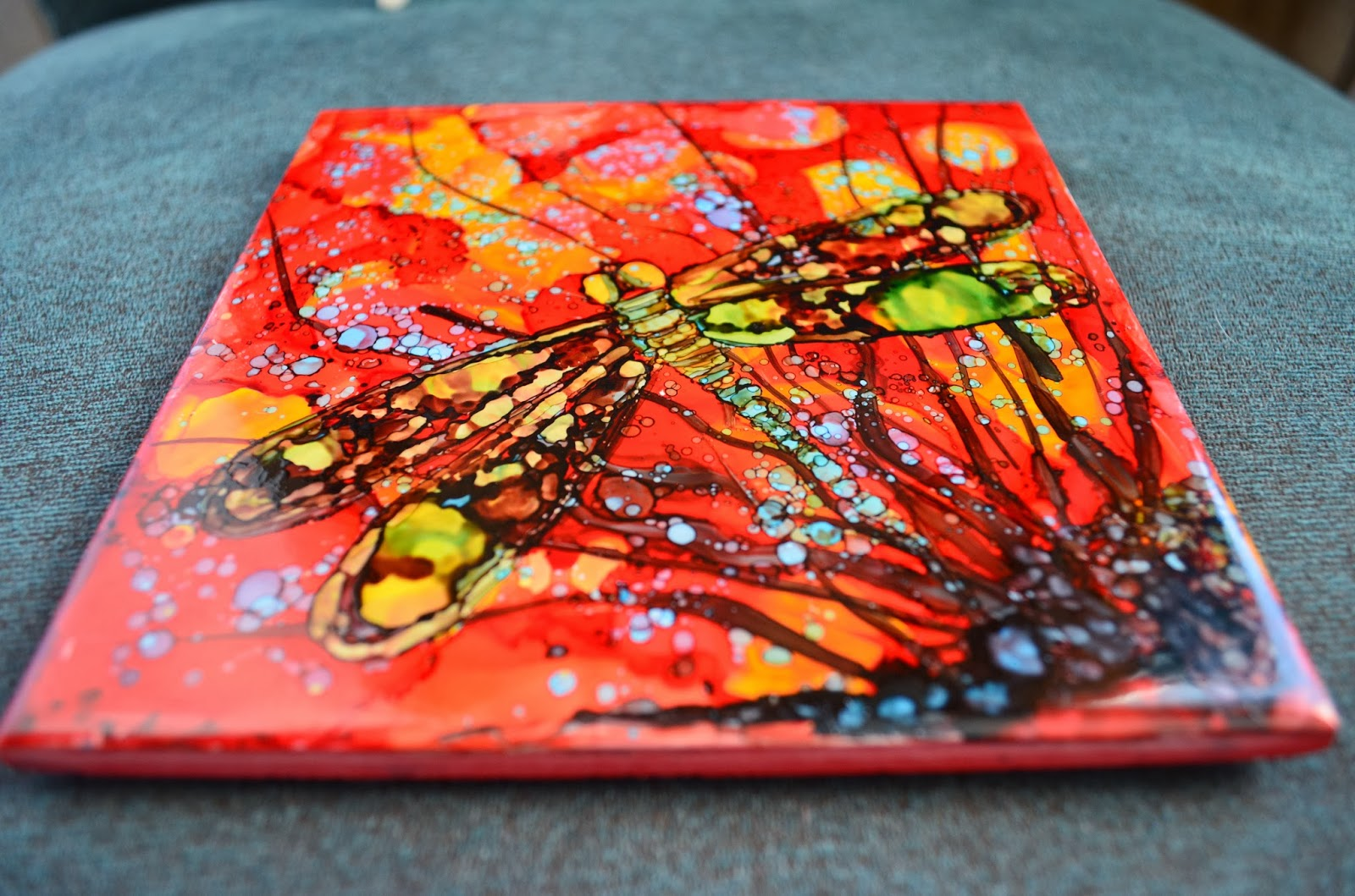 Kellie Chasse Fine Art Alcohol Ink Paintings On Ceramic Tiles