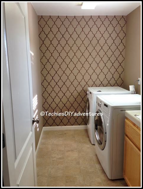 Hand Painted Wall Paper in Laundry room, Template created using cereal box