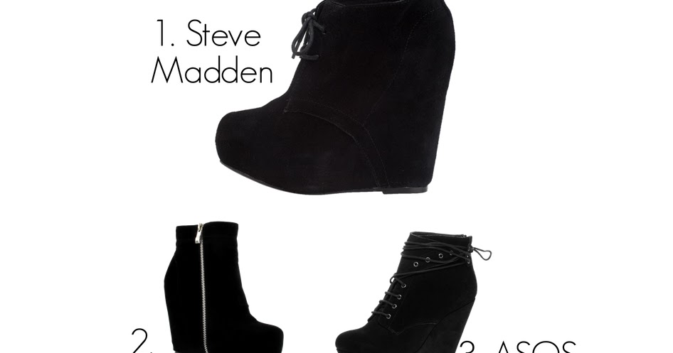Black Suede Wedge Shoe Boots