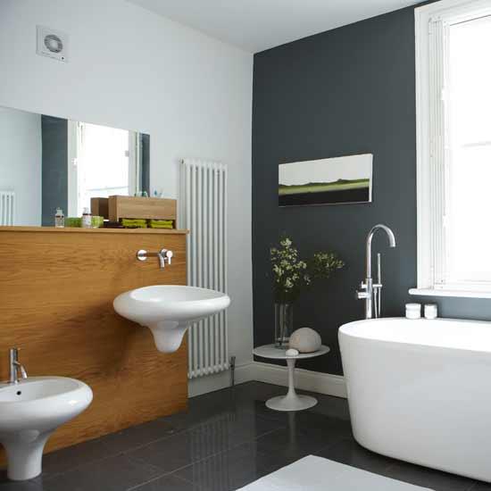 Baños Modernos Grises:Baño moderno en gris y blanco crean un hermoso contraste de color
