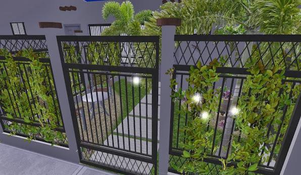 diseño 3D jardin pequeño fachada - iluminacion noche 1