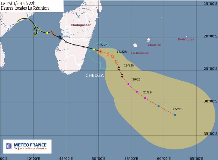 La tempête tropicale Chedza à 525 km de La Réunion