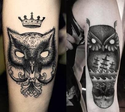 Fotos de tatuagens de corujas legais no braço