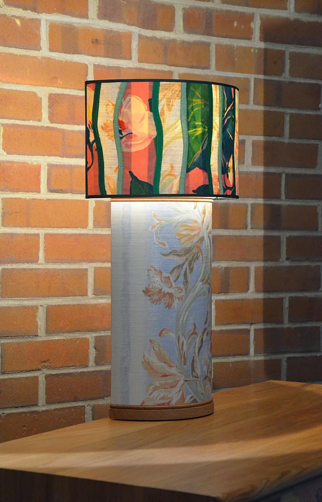 Decoupage Table Lamp in Vintage Fabrics