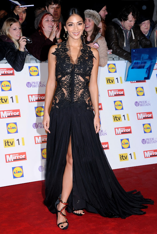 Nicole Scherzinger in a high cut black gown