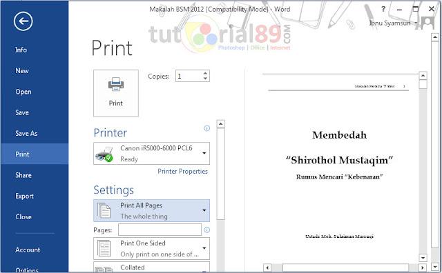 Cara print halaman berbeda sekaligus di word