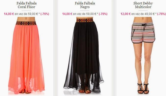 Faldas y shorts disponibles desde sólo12 euros.