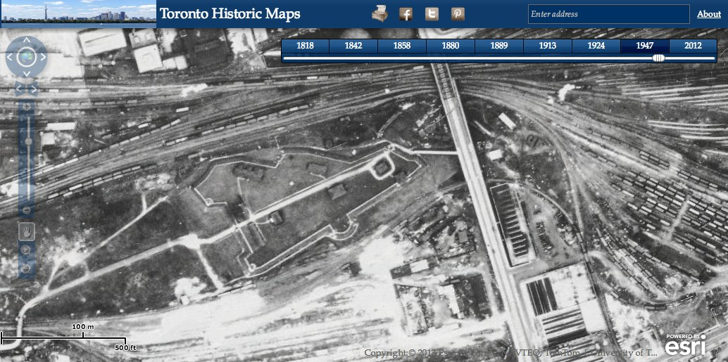 photo: Old Fort York as seen by plane in 1947