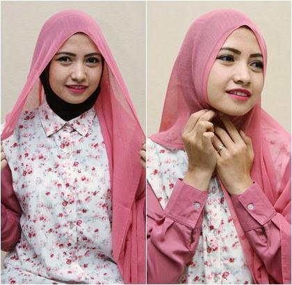 Cara memakai jilbab formal menggunakan jilbab segiempat 2