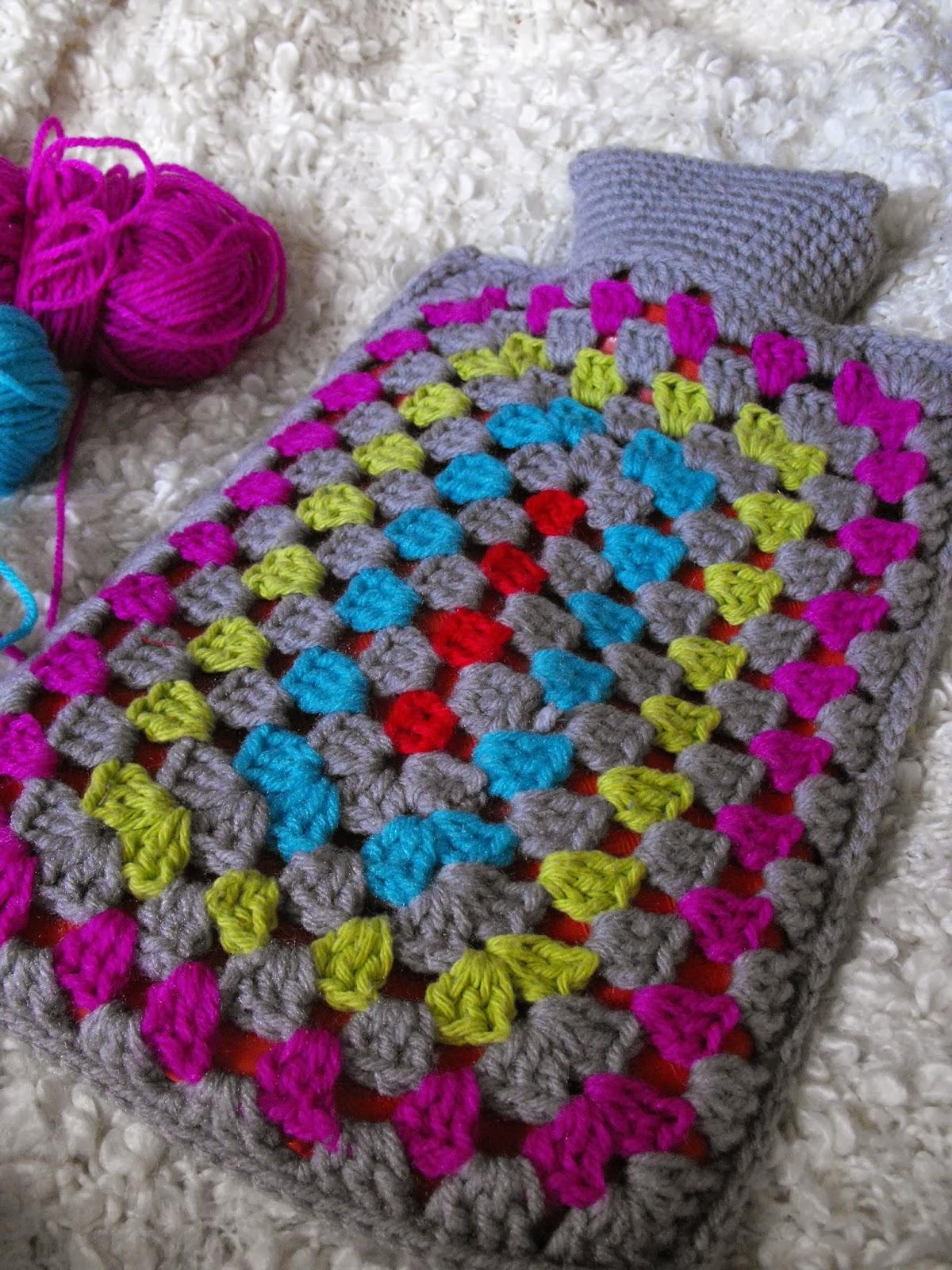 Free Knitting Or Crochet Pattern For Hot Water Bottle Cover : Ruby Murrays Musings: Crochet: Granny Rectangle Hottie