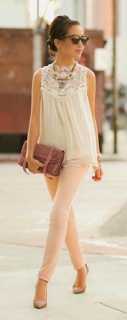White Sleeveless Lace Blouse with Blush Pant and Glitter Pumps | Spring Outfits