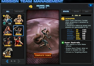 Stats page for Squirrel Girl at Marvel: Avengers Alliance
