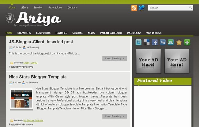 elvany blogger template