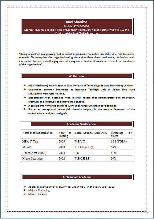 Professional Resume Excellent Resume Sample Of M Com