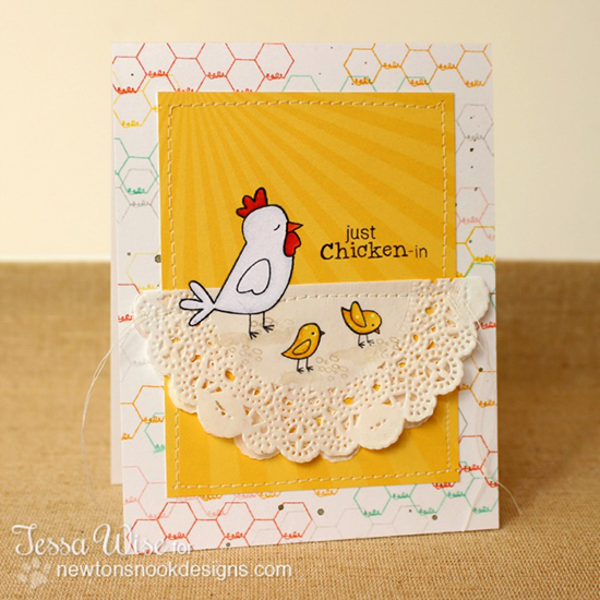 Chicken card by Tessa Wise for Newton's Nook Designs | Chicken Scratches Stamp
