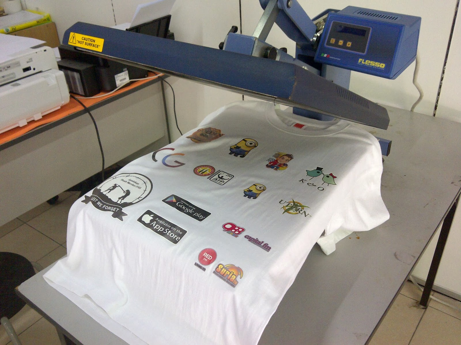 Tshirt printing mug printing in kl button badge heat for Machine for printing on t shirts