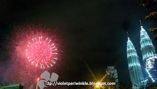 fireworks at Twin Towers Kuala Lumpur