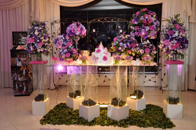 Decoração Gêmeas Ettys Mesa do Bolo  Rosa e Roxo