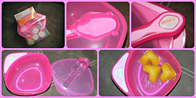 VitalBaby Vital Baby Pink Weaning Set Spoon Lid Bowl