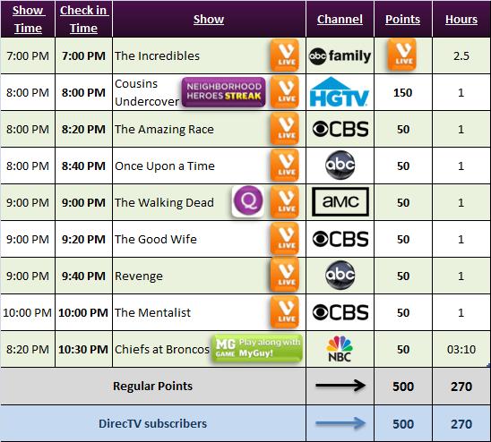 Viggle Schedule for Nov 17, 2013