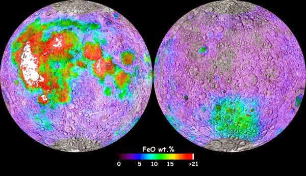 Mapa de la concentración de hierro en la luna. Sonda Clementine.