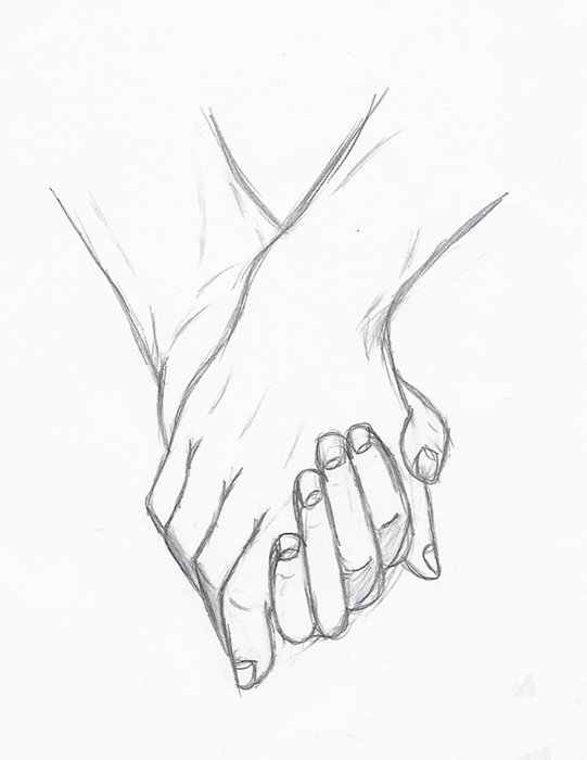 how to draw two people holding hands
