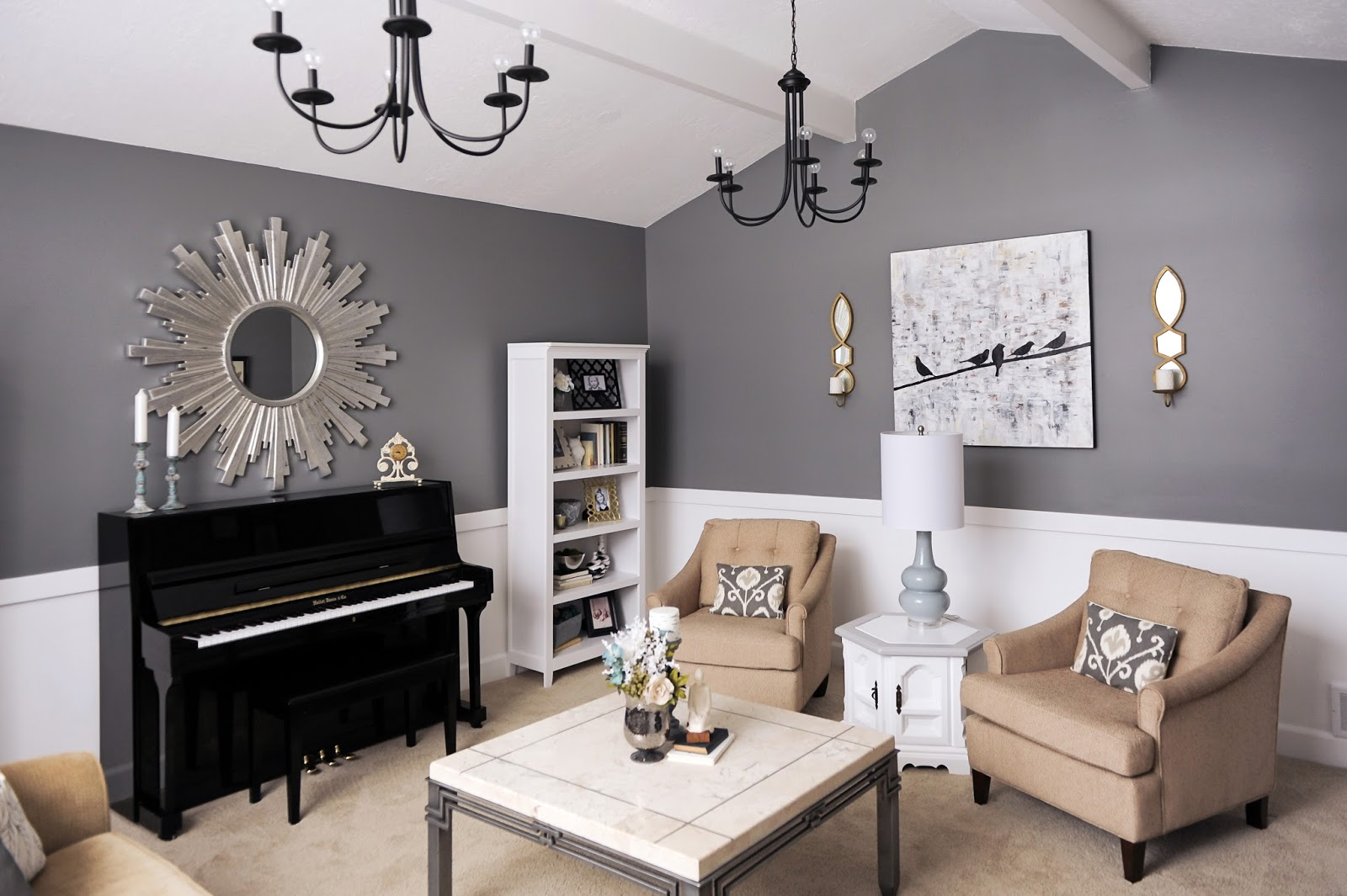 Living Room, White, Gray, Charcoal, Gold, Metallic, Black, Etsy
