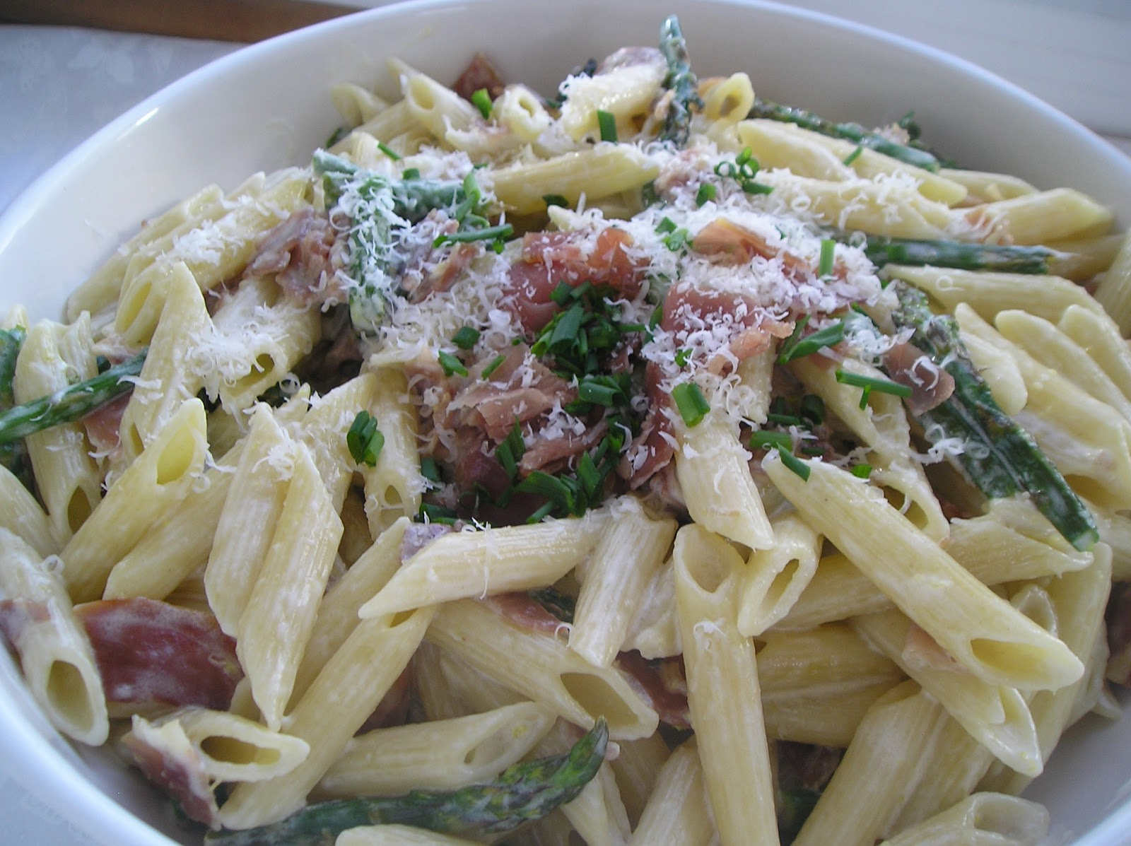 Secret Recipe Club: Penne with Asparagus and Prosciutto in Lemon Cream ...