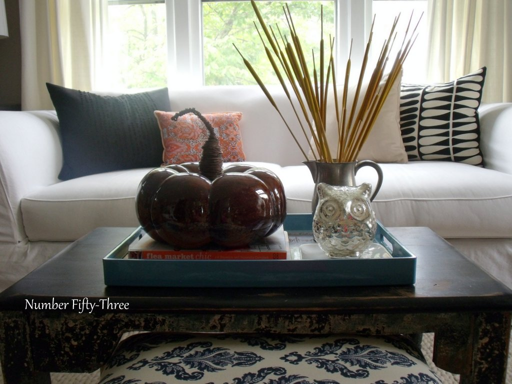 Number fifty three my autumn coffee table styling for How to decorate living room table