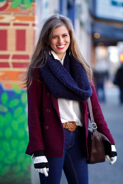 Natalie Meek suede knitted scarf seattle street style fashion it's my darlin' striped gloves