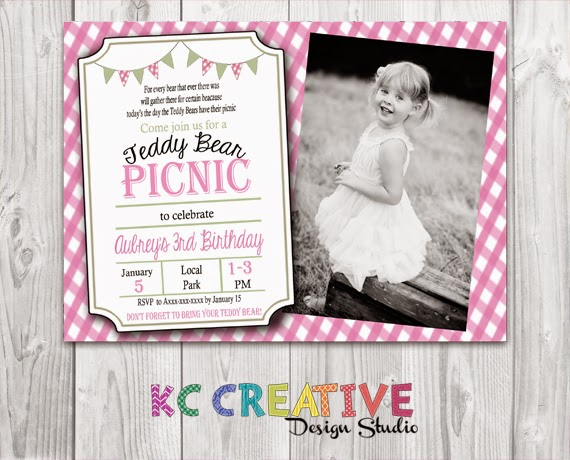 Kc creative design studio teddy bear picnic themed birthday party the theme is so popular i also created printable party supplies to match the invitation seen below is the classic red but i have them available in pink filmwisefo