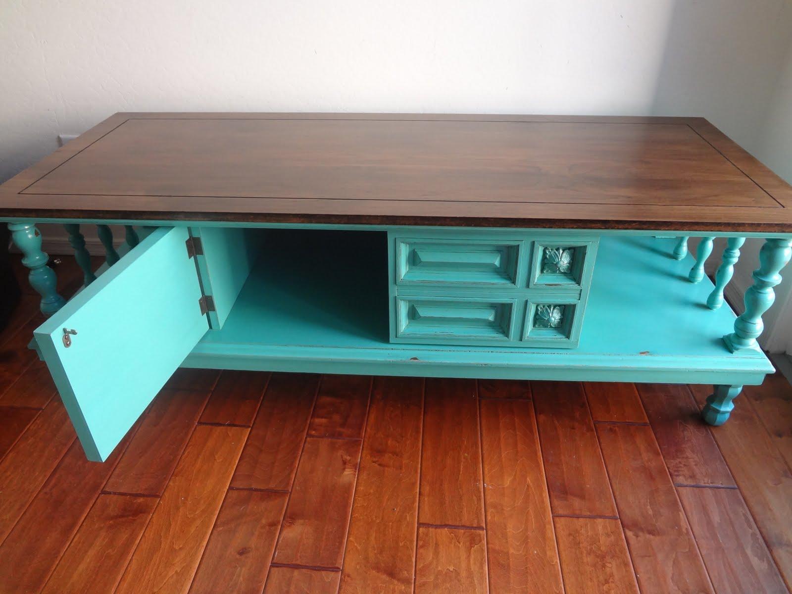 Turquoise Vintage Coffee Table