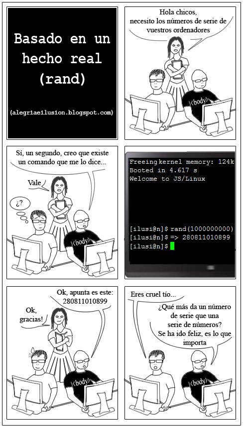 Caricatura :chica pide numero de serie de un ordenador a un compañero, este en lugar de mirarlo escribe la palabra rand