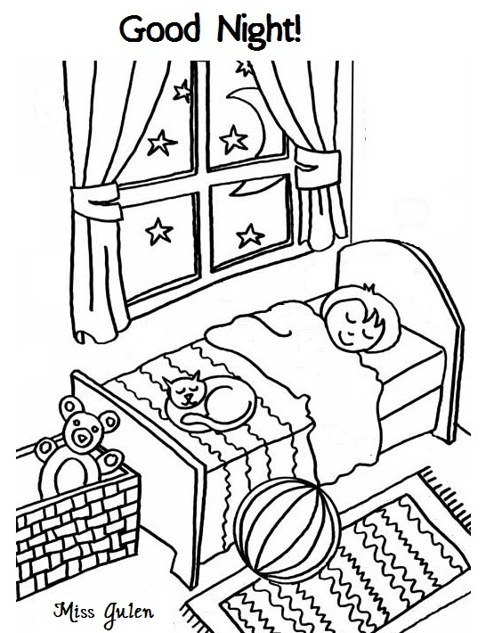 n is for night coloring pages - photo #18
