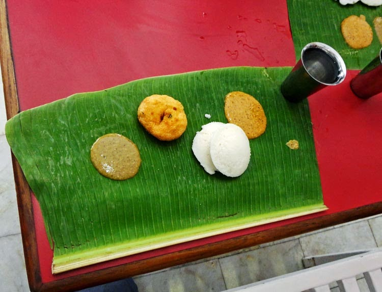 food on a banana leaf