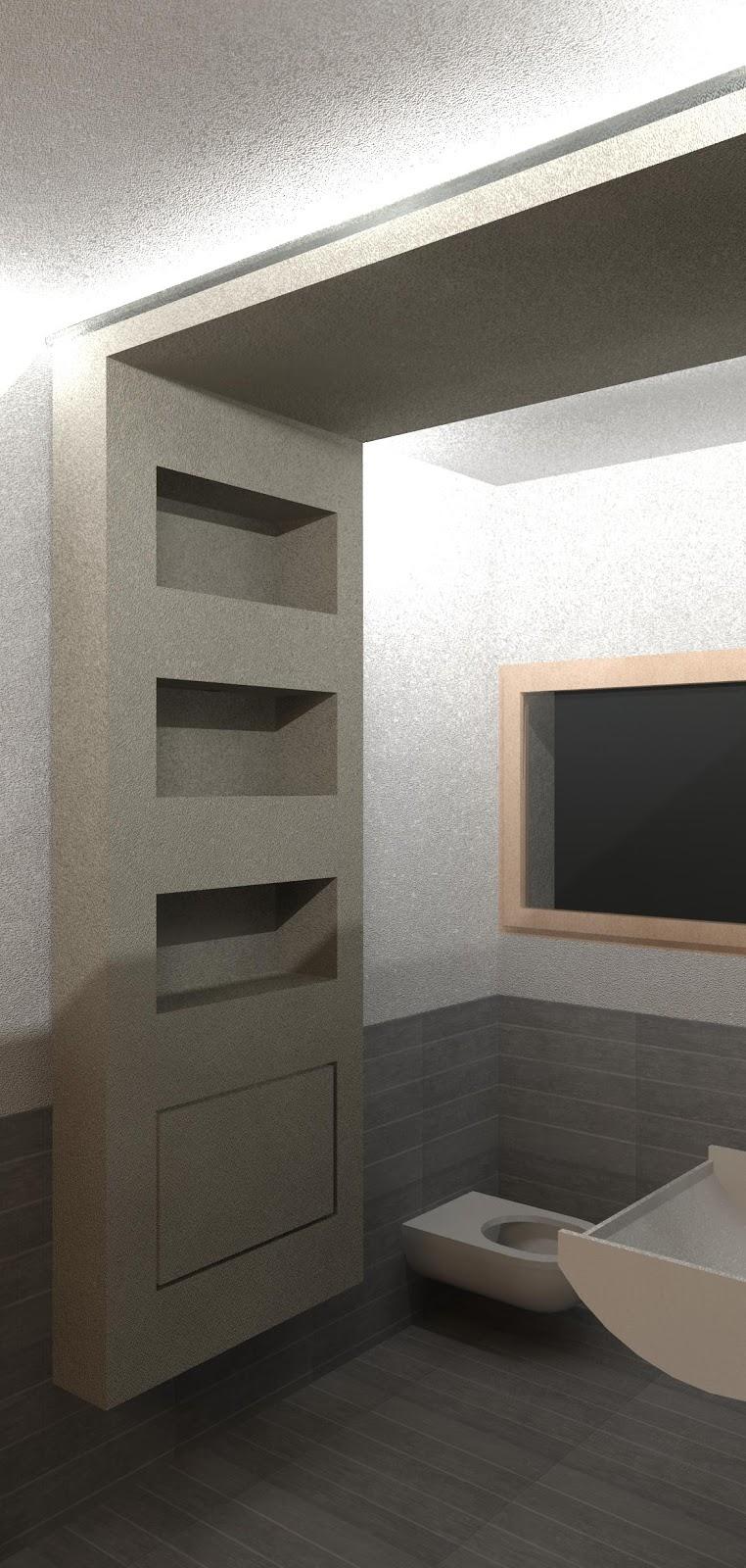 Geometra pprogetto di un bagno con stile moderno for Lavandino bagno moderno
