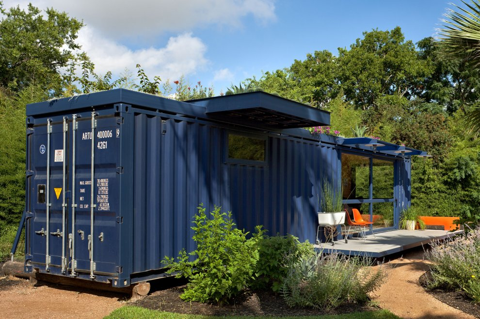 Shipping container homes green roof container home texas - Container home builders in texas ...